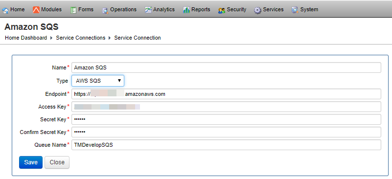 AWS SQS Service Connection