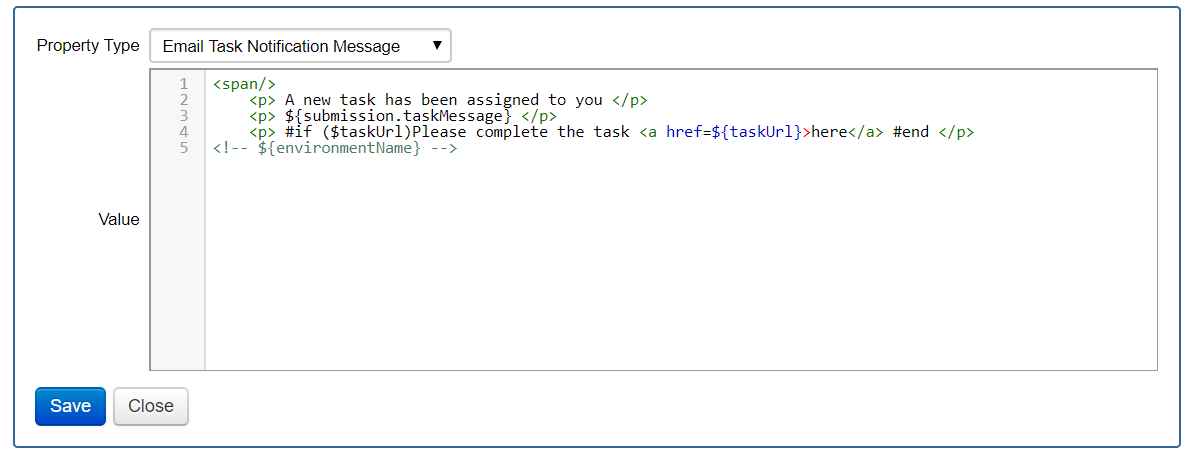 Configure a Form Space Email Template