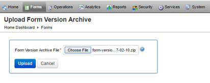 Import the TM Form Version Zip File to Journey Manager