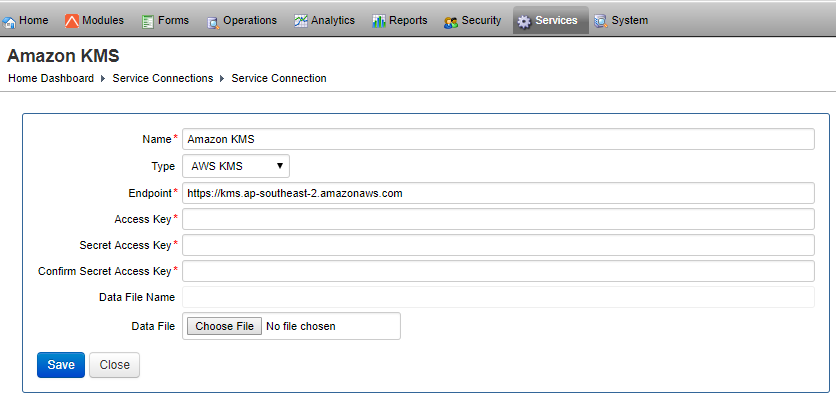AWS KMS Service Connection